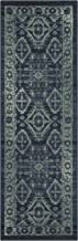 Maples Rugs Georgina Traditional Runner Rug Non Slip Hallway Entry Carpet [Made in USA], 2 x 6, Navy Blue/Green