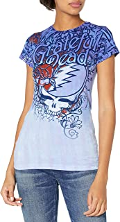 Liquid Blue Women's Grateful Steal Your Face Dead Flowers Graphic Tee