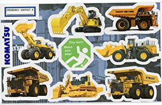 Komatsu 3 Sheet Machinery Sticker Bundle: Hardhat/Decals, Value Pack. Great for the Roughneck, Oil Worker, Construction Worker. Looks great on a Helmet, Lunchbox, or Toolbox.