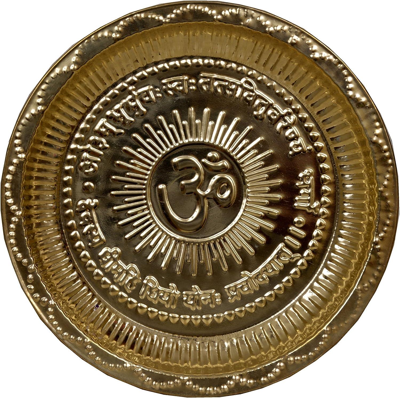 Maitri Creations Handmade Copper Hindu Pooja Thali with Om Symbol and Gayatri Mantra - Decoration - Mandir Temple Accessory - Spiritual Gifts - Indian Traditional
