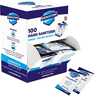 Rhinestone Single Use Instant Hand Sanitizer Packets – 2ML Disposable Sanitizing Gel Packets – Pack of 100, Portable, Suit...