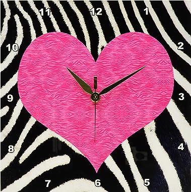 3dRose Punk Rockabilly Zebra Animal Stripe Pink Heart Print Wall Clock, 10 by 10-Inch