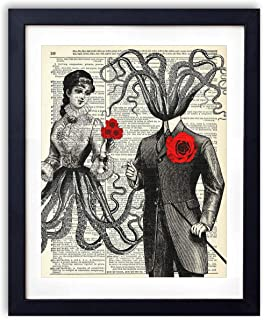 Octopus Couple With Red Roses, Vintage Dictionary Art Print, Modern Contemporary boho farmhouse style, Wall Art Home and Bathroom Nautical Decor, 8x10 inches, unframed