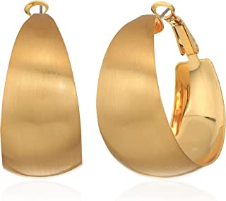 Rebecca Minkoff Wide Textured Gold Hoop Earrings