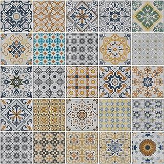 comprar comparacion 24x Mezcla gris Lámina impresa 2d PEGATINAS grises lisas para pegar sobre azulejos cuadrados de 15cm en cocina, baños – re...