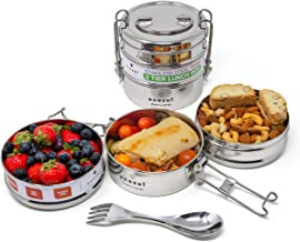 ecozoi Extra Large Stainless Steel 3-Tier Stackable Eco Lunch Box Metal Bento Box | Bonus Free Stainless Steel Spork, Spoon & Fork | Sustainable Zero Waste Eco Friendly Food Storage Container