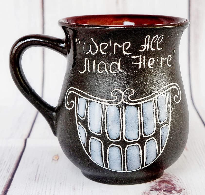 We Are All Mad Here Tea Mug Cheshire Cat Smile Cup Handmade Pottery Mug Alice In Wonderland Clay Mug Birthday Gift Friend Doctor