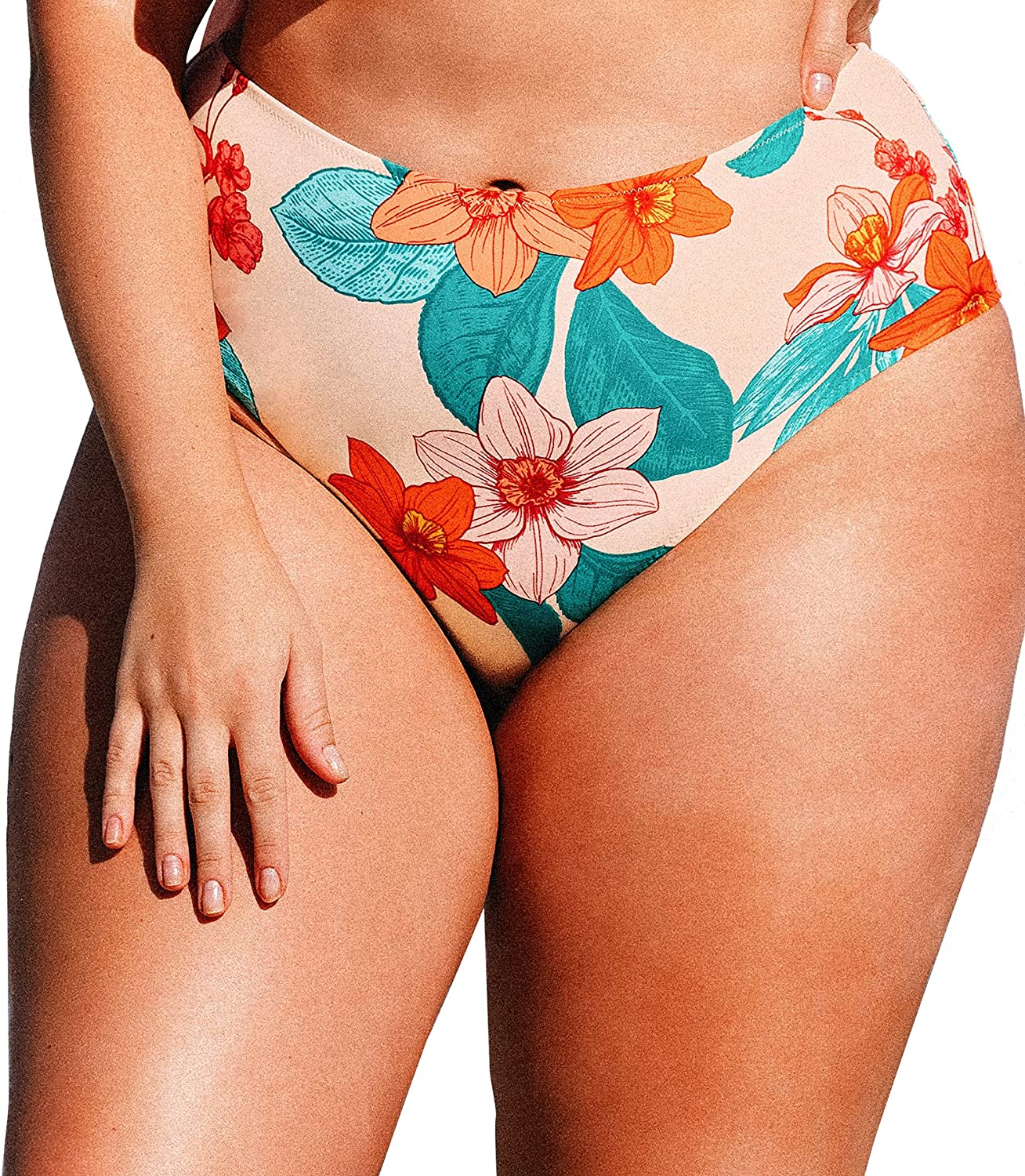 CUPSHE Women's High Waisted Plus Size Bikini Bottom Floral Full Coverage Bathing Suit