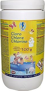 PQS – 166522 Cloro en pastillas PQS alta concentración: Desinfección, Estabilizador de Cloro, Algicida y Floculante. Tabletas de 100 gr. Bote 1 Kg.