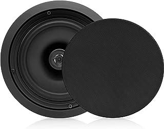 Pyle PDIC81RDBK in-Wall/in-Ceiling Dual 8-inch Speaker System, 2-Way, Flush Mount, Black (Pair)