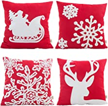 HOSL SD34 Embroidery Embroidered Merry Christmas Series Blend Linen Throw Pillow Case Decorative Cushion Cover Pillowcase Square 18 - Set of 4