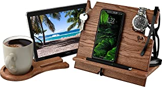 Cell Phone Stand Watch Tablet Holder Cup Coaster Men Device Dock Organizer. Eco Wood Mobile Nightstand Charging Docking Station. Accessory Wooden Storage Funny Birthday Bed Side Caddy Valet 3-in-1 Set