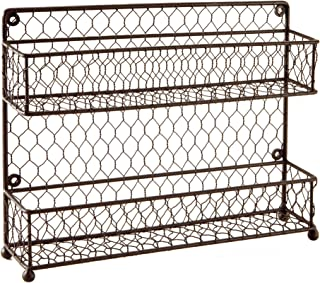 MyGift Rustic Brown Dual Tier Wire Spice Rack Jars Storage Organizer (Kitchen Countertop or Wall Mount)