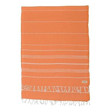 Bersuse 100% Cotton - Anatolia XL Throw Blanket Turkish Towel Pestemal - Bath Beach Fouta Peshtemal - Multipurpose Bed or Couch Throw, Table Cover or Picnic Mat - Striped - 61X82 Inches, Orange