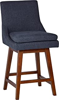 Stone & Beam Alaina Modern Fabric Swivel Kitchen Counter Bar Stool with Back,  38.5 Inch Height, Navy Blue