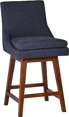 Amazon Brand Stone Beam Alaina Contemporary High Back Swivel Seat Counter Stool 39 H Blue Furniture Decor
