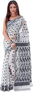 SareesofBengal Women's CottonSilk Handloom Jamdani Dhakai Saree Black and White
