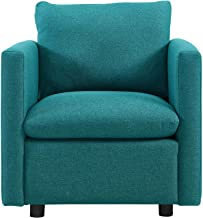 Modway Activate Contemporary Modern Fabric Upholstered Accent Lounge Armchair In Teal
