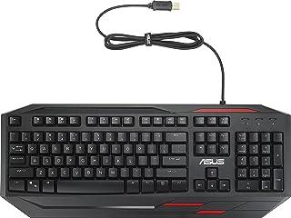 ASUS GK100 發光游戲鍵盤(有線,可編程,防水,防鬼,德式版)黑色