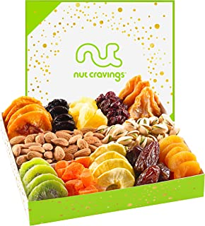 Gourmet Nut & Dried Fruit Assortment Gift Basket (12 Variety) - Edible Care Package Set, Birthday Party Food Arrangement Platter - Healthy Snack Box for Families, Women, Men, Adults - Prime Delivery