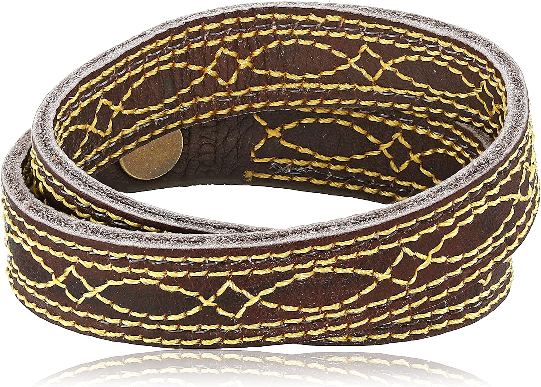 Frye Unisex Campus Stitch Dakota Leather Cuff Bracelet