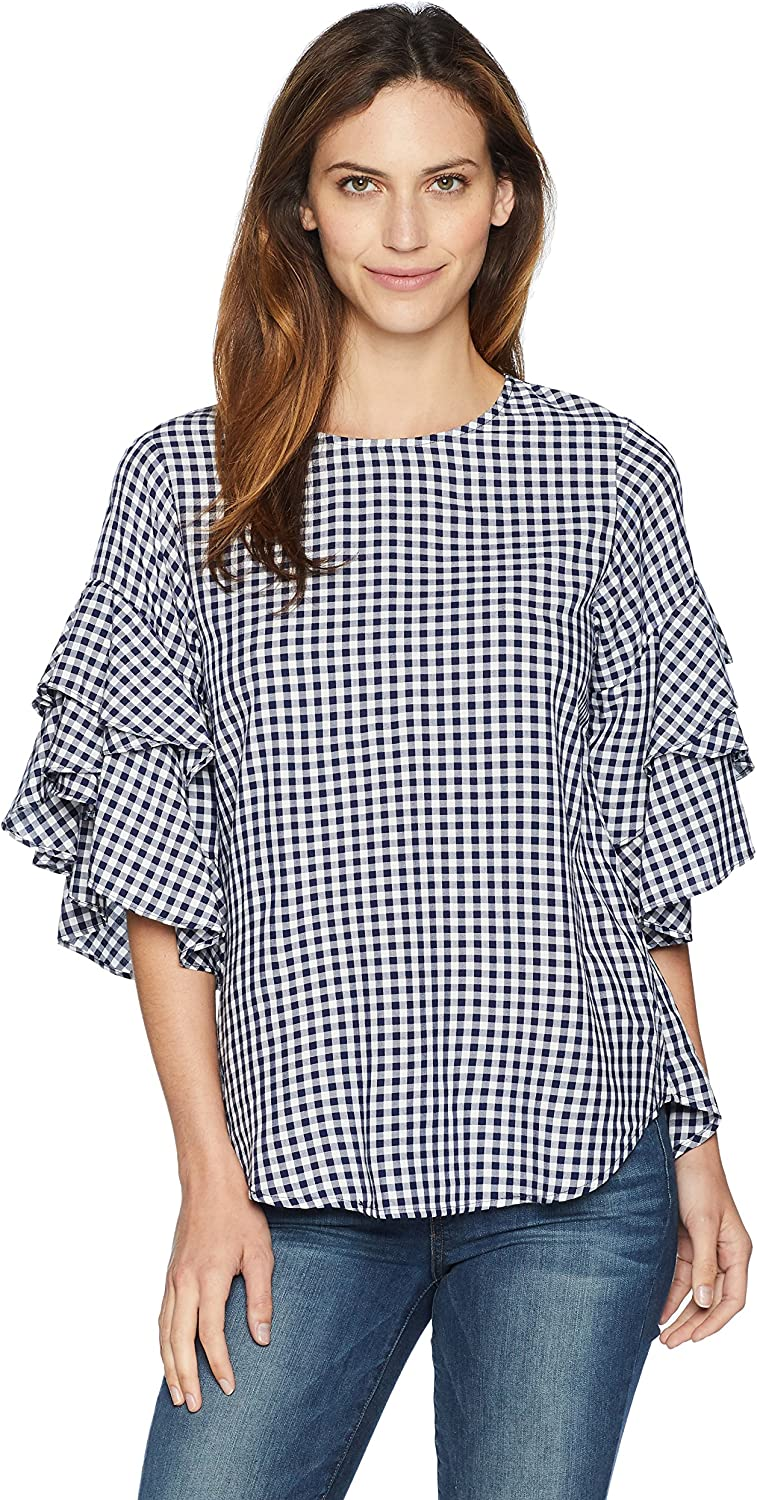 Karen Kane Womens Gingham Ruffle Sleeve Top Blouse