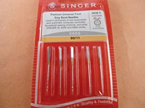 Genuine Singer Premium Universal Point Gray Band Sewing Machine Needles 2000 - Size 80/11-5pcs Pack
