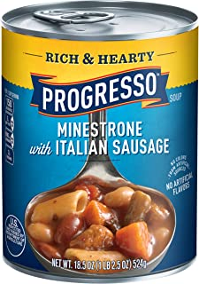 Progresso Rich & Hearty Minestrone with Italian Sausage Soup 18.5 oz Pull-Top Can (pack of 12)