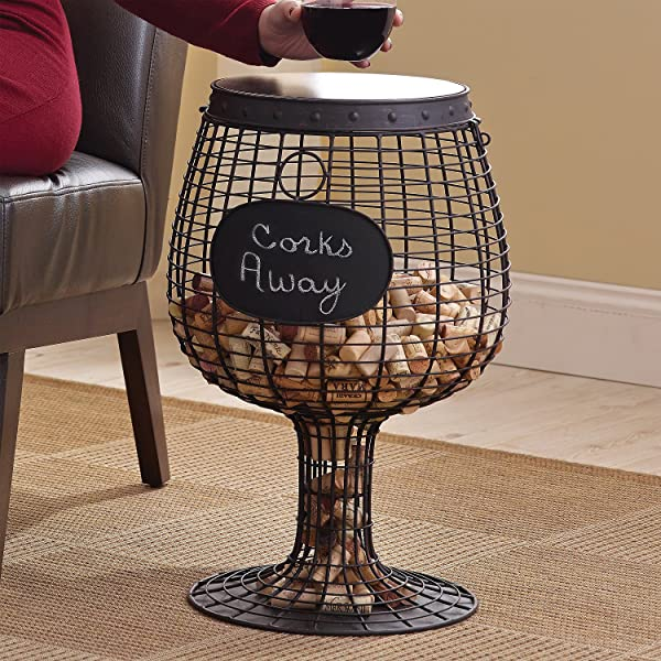 Wine Enthusiast Wine Glass Cork Catcher Accent Table Holds 500 Corks