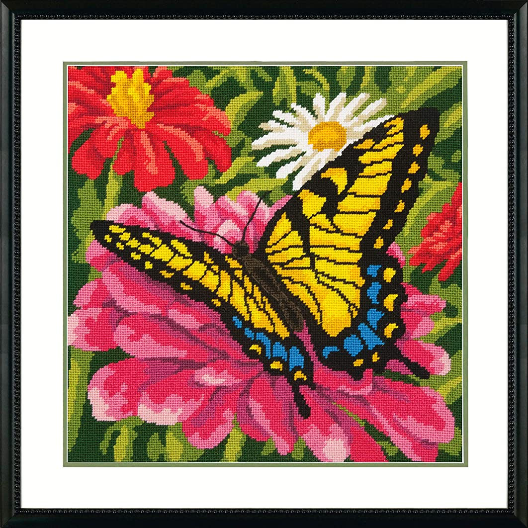 Dimensions Needlepoint Kit, Butterflies and Zinnias Floral Needlepoint, 14'' x 14''