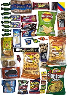 Colombian Snacks Sampler Box | Mecato Colombiano | Cookies, Chips & Candies Variety Pack | Snack Assortment Delight | 40 count / 25 different items | Weird Candy Food Munchie Pack | Variety Fun Snack