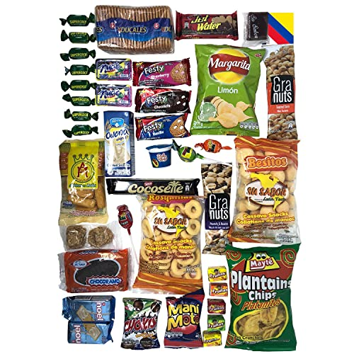 Colombian Snacks Sampler Box | Mecato Colombiano | Cookies, Chips & Candies Variety Pack |