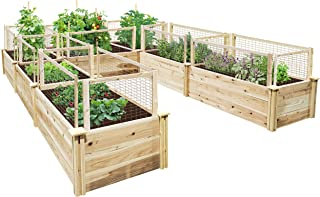 Greenes Fence Premium Cedar Raised Garden Bed 8 ft. x 12 ft. x 16.5 in. U-Shaped Bed with CritterGuard Fencing