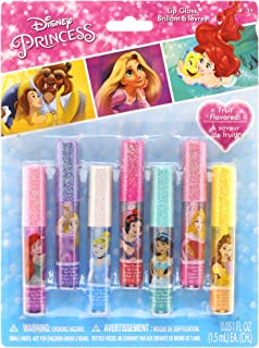 Disney Princess Kids Washable Party Favor Lip Gloss, 7 Flavors include Cotton Candy, Strawberry, Raspberry, Bubble Gum, Gr...