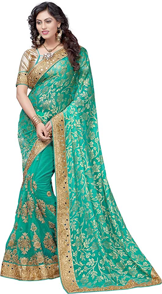 Indian Nivah Fashion Women's Woven Brasso Saree With Blouse Piece Saree