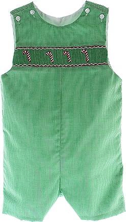 1162085de Boys Smocked Christmas Outfit Green Long John Romper Toddler