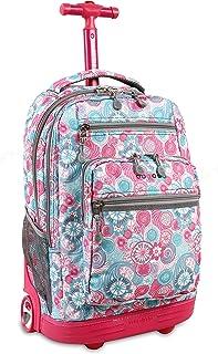 حقيبة ظهر متدحرجة للكمبيوتر المحمول صندانس نيويورك للمدرسة والسفر من جيه وورلد، 50.8 سم
