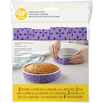 Wilton Bake-Even Strips, Takes Baking to the Next Level, Keeps Cakes More Level and Prevents Crowning with Cleaner Edges for a Professional Look and Easier Decorating, 6-Piece,Purple