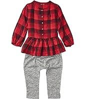 Ralph Lauren Baby - Yarn-Dyed Cotton Gauze Peplum Pants Set (Infant)
