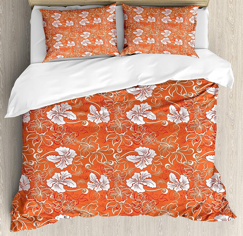 ec03054b8ec8 orange Duvet Cover Set Set Set Full Size, Hawaiian Pattern with ...