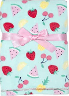 Baby Gear Plush Velboa Ultra Soft Baby Girls Blanket 30 x 40, Fruit