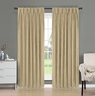 Brielle Fortune Faux Dupioni Silk Lined Insulated Room Darkeninng Back Tab/Pinch Pleat Panel, 29 by 84
