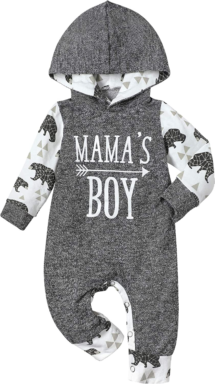 Baby Boy Clothes Infant Boys Hoodie Romper Fall Winter Bodysuits