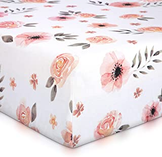 Tyke Bliss Pink Floral Girl Crib Sheet - 100% Finely Combed Cotton, Breathable, Super Soft Watercolor Rose Baby Girl Crib Sheets, 52' x 28' x 9' Fits Standard Mattress