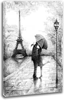 Intalence Art Unique Romantic Paris Artwork, Canvas Wall Art, Eiffel Tower Print on Canvas, Modern Home and Office Decoration. Premium Giclee Print, Gallery Wrap, Black and White, Easy to Hang.