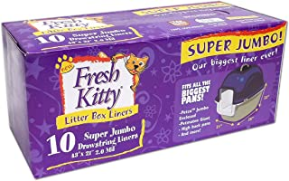 Fresh Kitty Super Thick, Durable, Easy Clean Up Jumbo Drawstring Scented Litter Pan Box Liners, Bags for Pet Cats, 10 ct