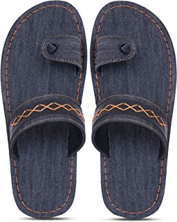 Emosis Men's Slipper Cum Sandal - Latest & Stylish Synthetic Leather - for Outdoor Formal Office Casual Ethnic Daily Use - Available in Blue Black Denim Color - 0385M