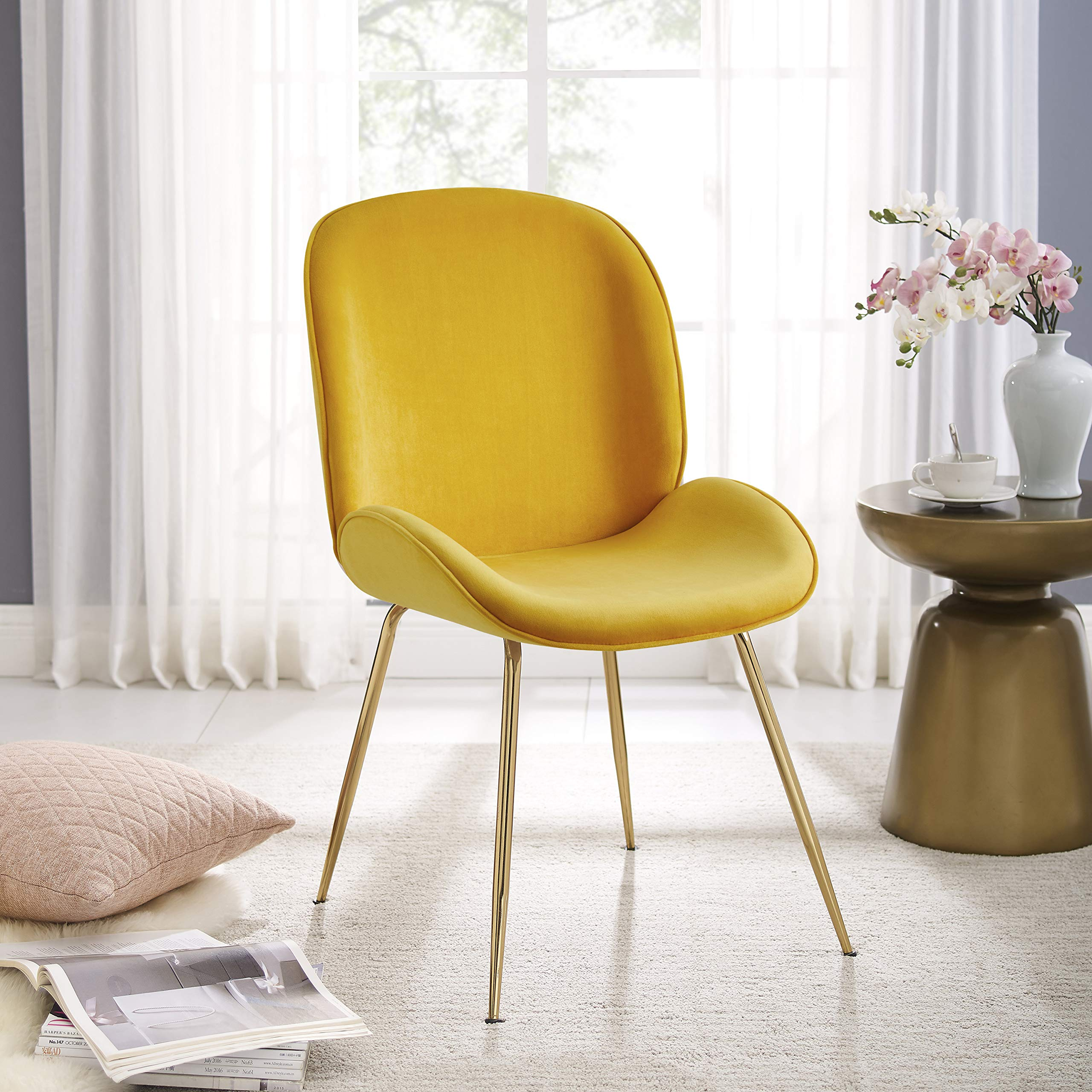 Art Leon Vanity Chair Modern Beetle Shell Upholstered Dining Chair With Gold Metal Legs Makeup Velvet Chair For Living Buy Online In Dominica At Dominica Desertcart Com Productid 216951247