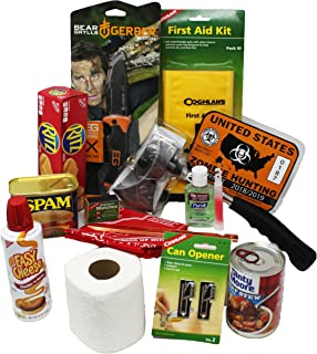 Around the Clock Gifts Zombie Survival Essentials Kit | Hatchet and Bear Grylls Knife | Walking Dead Night | Apocalypse