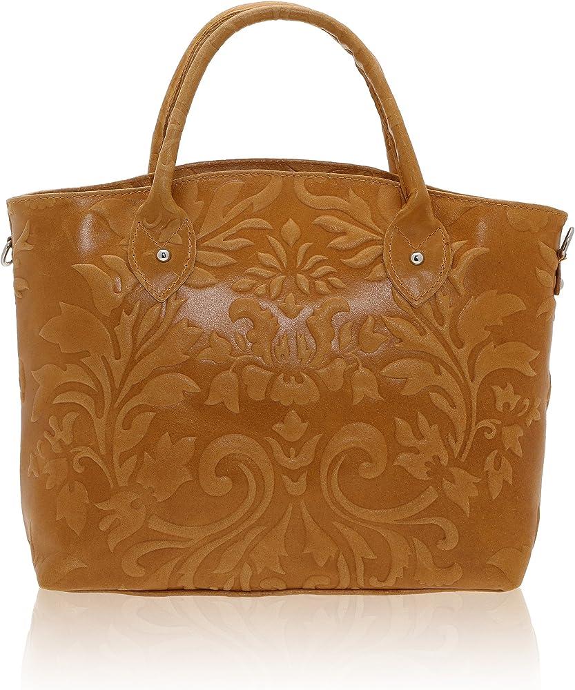 Chicca borse handbag,  borsa a mano da donna,  in vera pelle, made in italy DDD80070-CUOIO